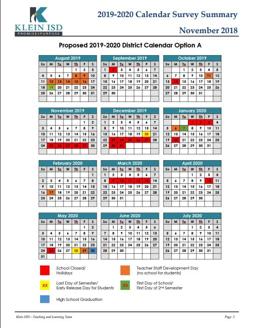 Isd Calendar 2019 2019 2020 Calendar Survey Results | Klein ISD Newsroom