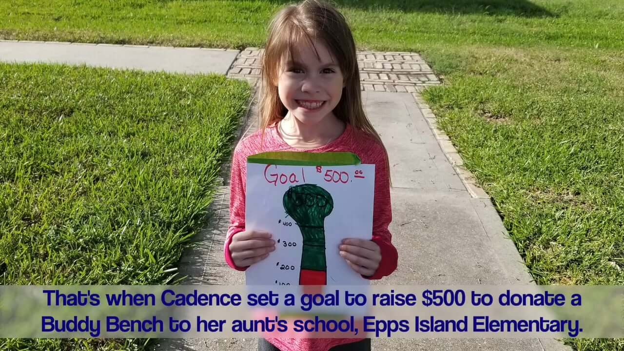 Northampton First Grader Donates Buddy Bench to Epps Island Elementary
