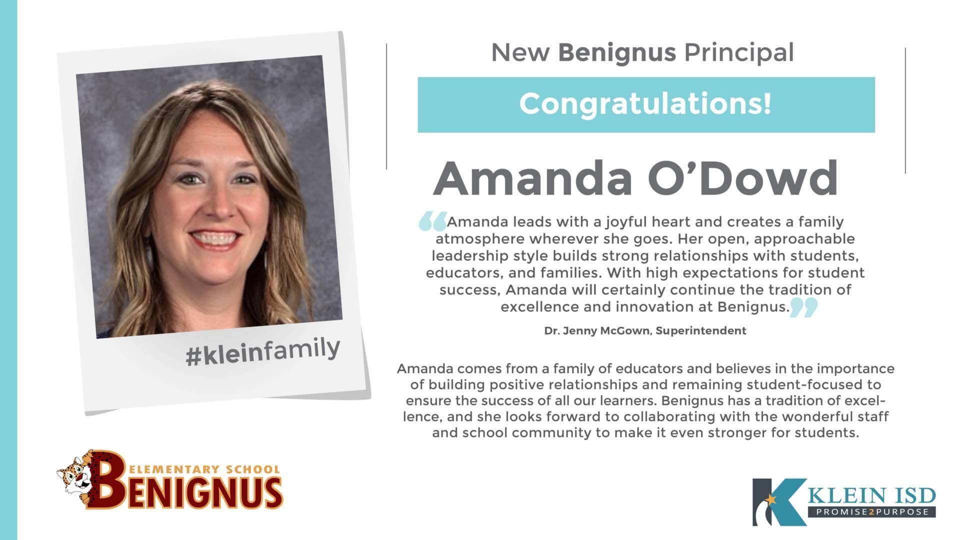Amanda O'Dowd Announced as Benignus Elementary Principal