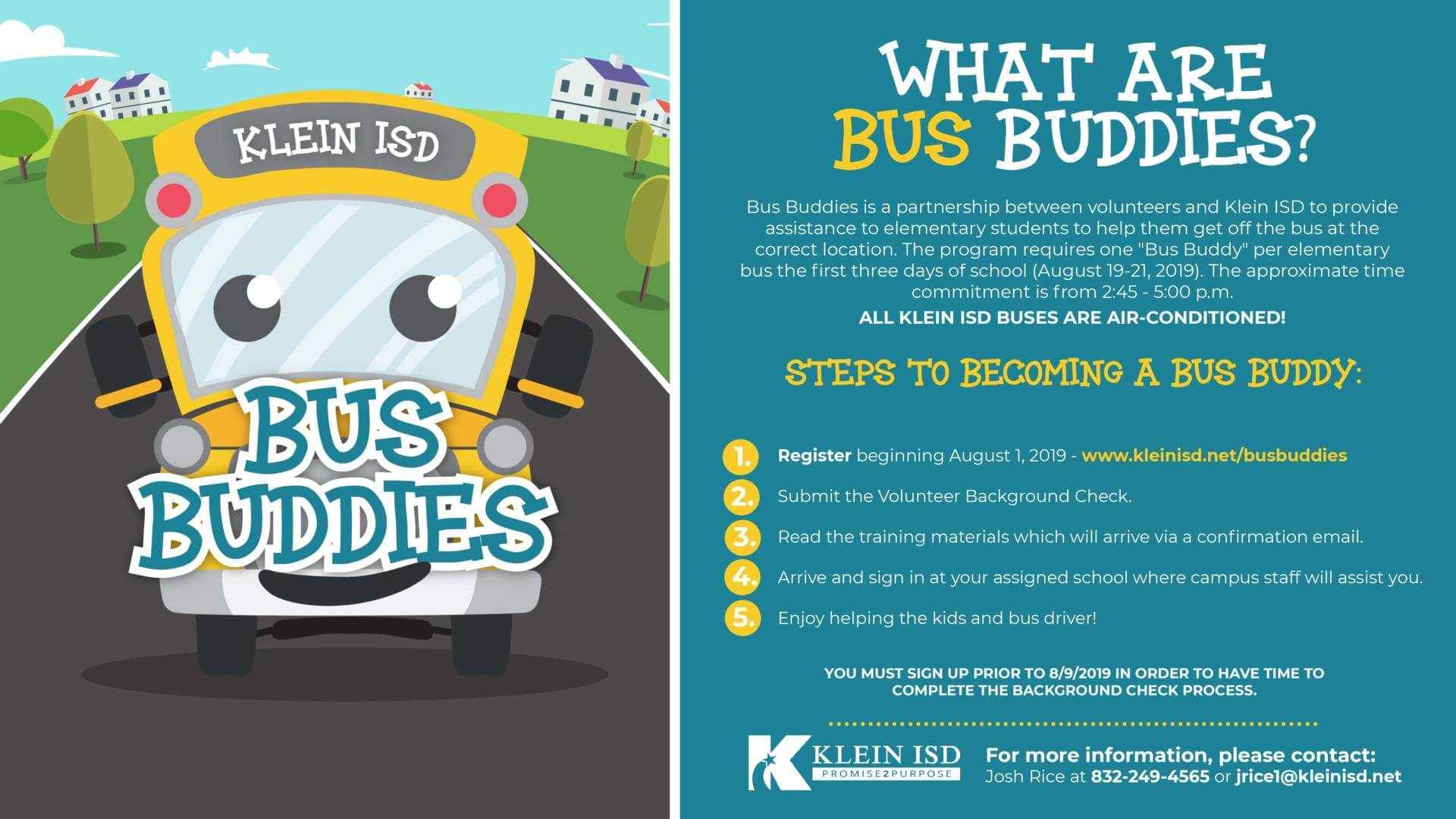Support Your School by Volunteering to be a Klein ISD Bus Buddy
