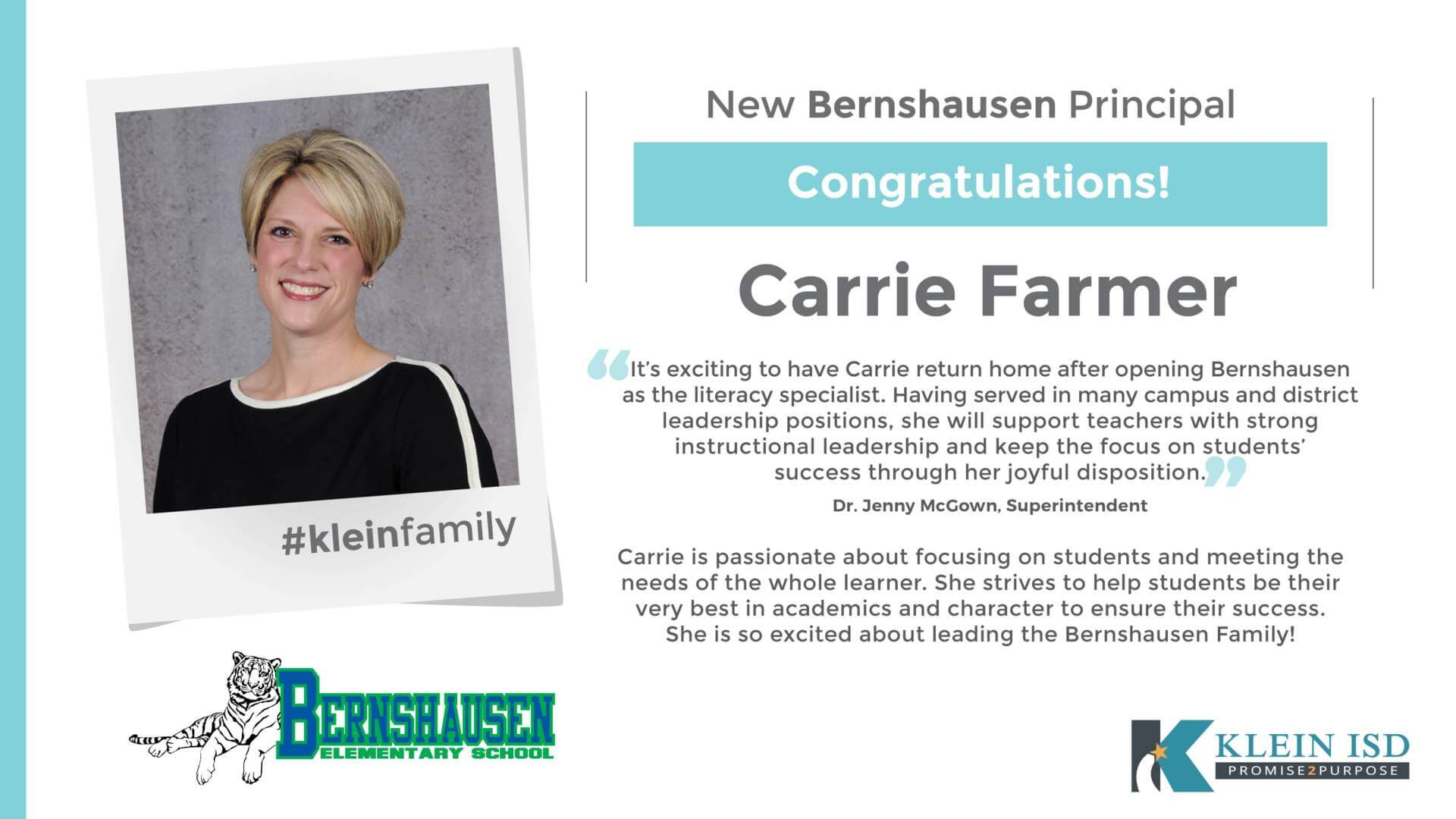 Carrie Farmer Announced as Bernshausen Elementary Principal