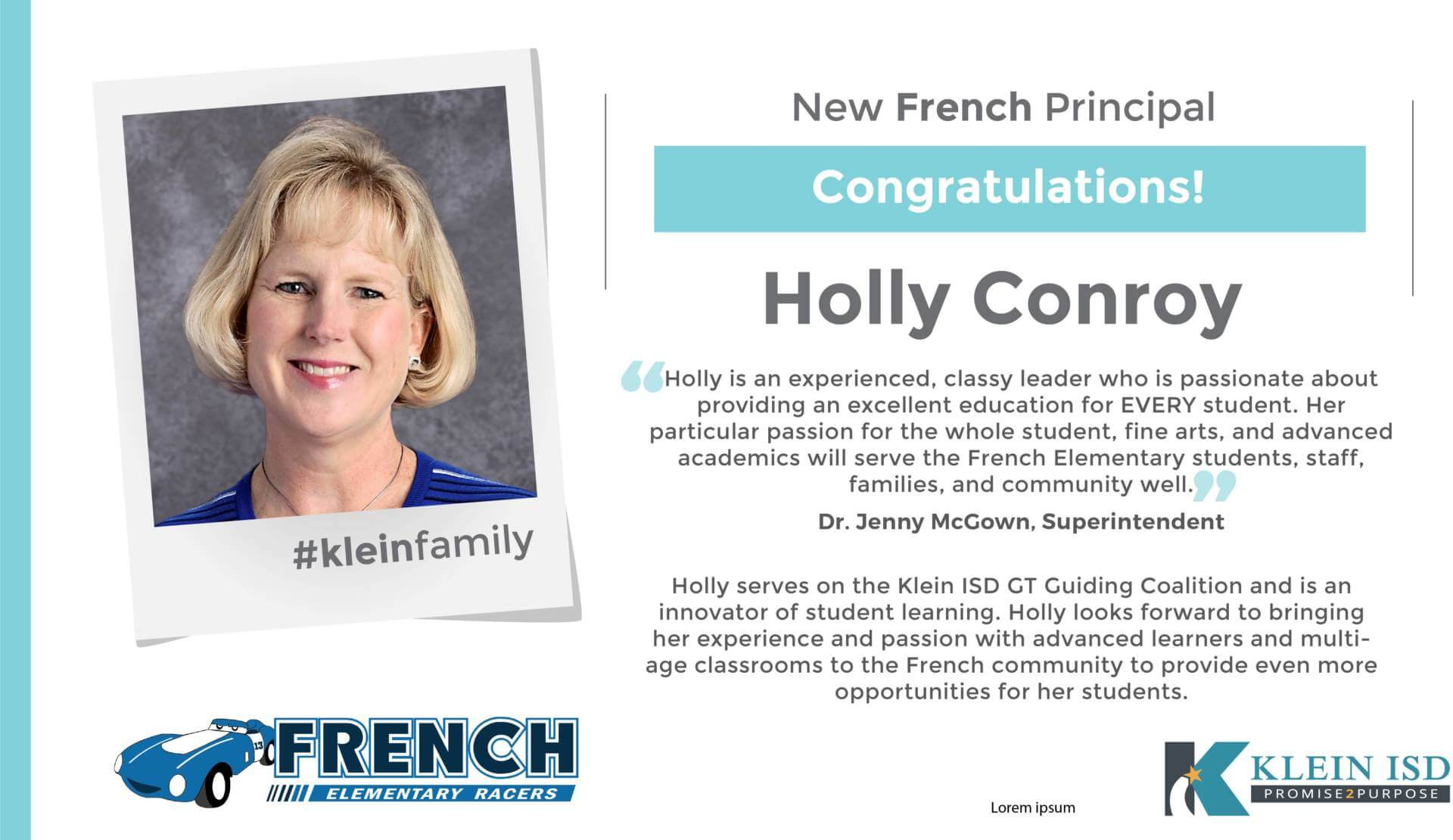 Holly Conroy Announced as French Elementary Principal