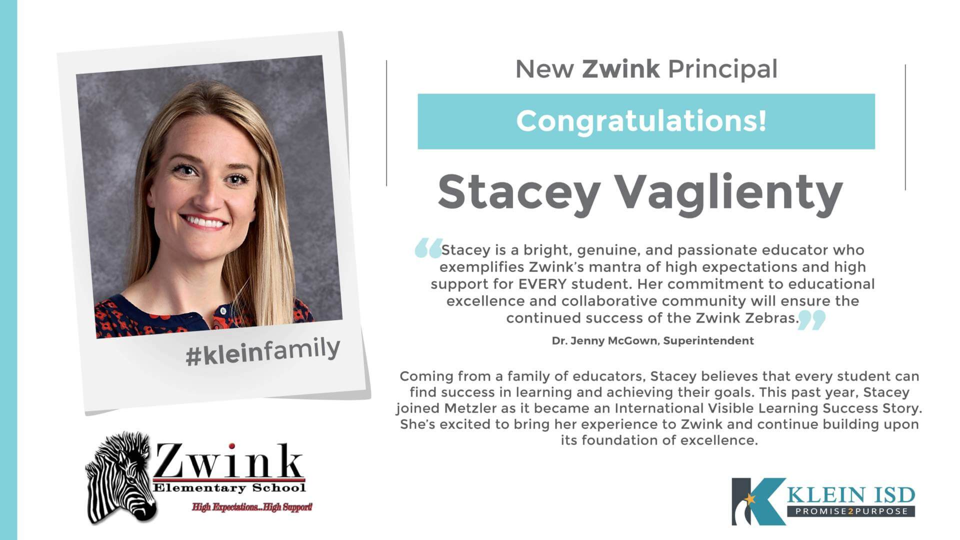 Stacey Vaglienty Announced as Zwink Elementary Principal