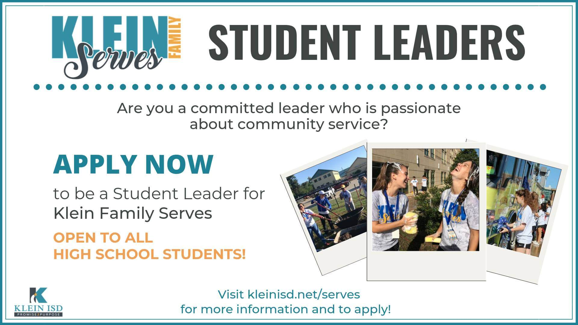 High School Students – Become a Klein Family Serves Student Leader