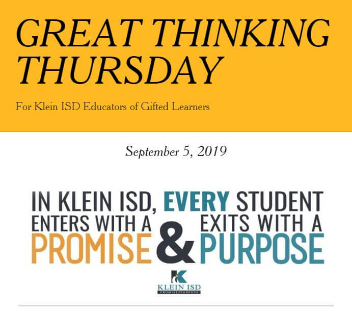 Great Thinking Thursday: September 5