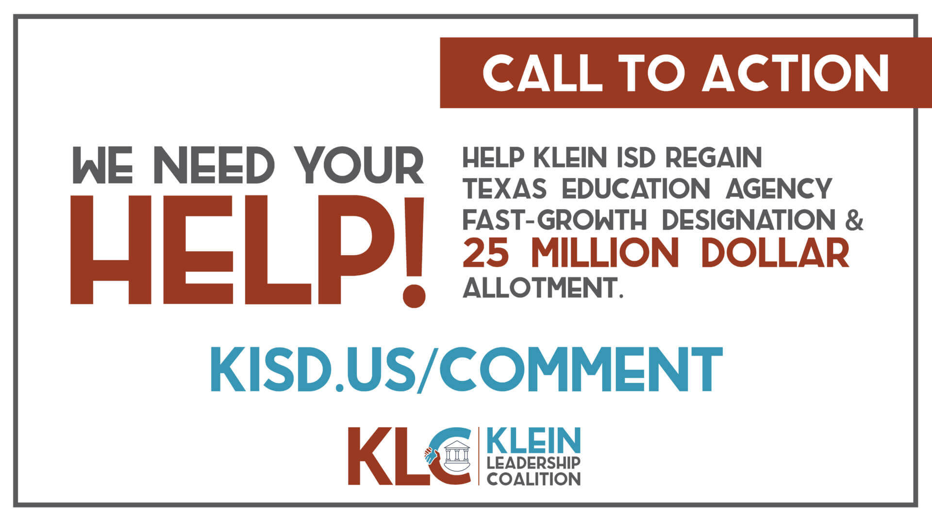 Help Klein ISD Stay a Fast-Growth School District and Receive $25 Million Allotment