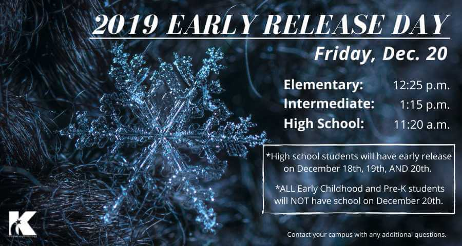 Klein ISD Early Release Schedules – December 2019