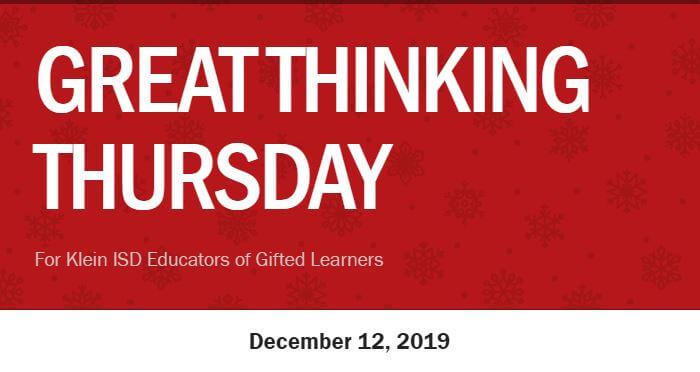 Great Thinking Thursday: December 12