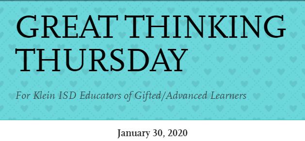 Great Thinking Thursday: January 30