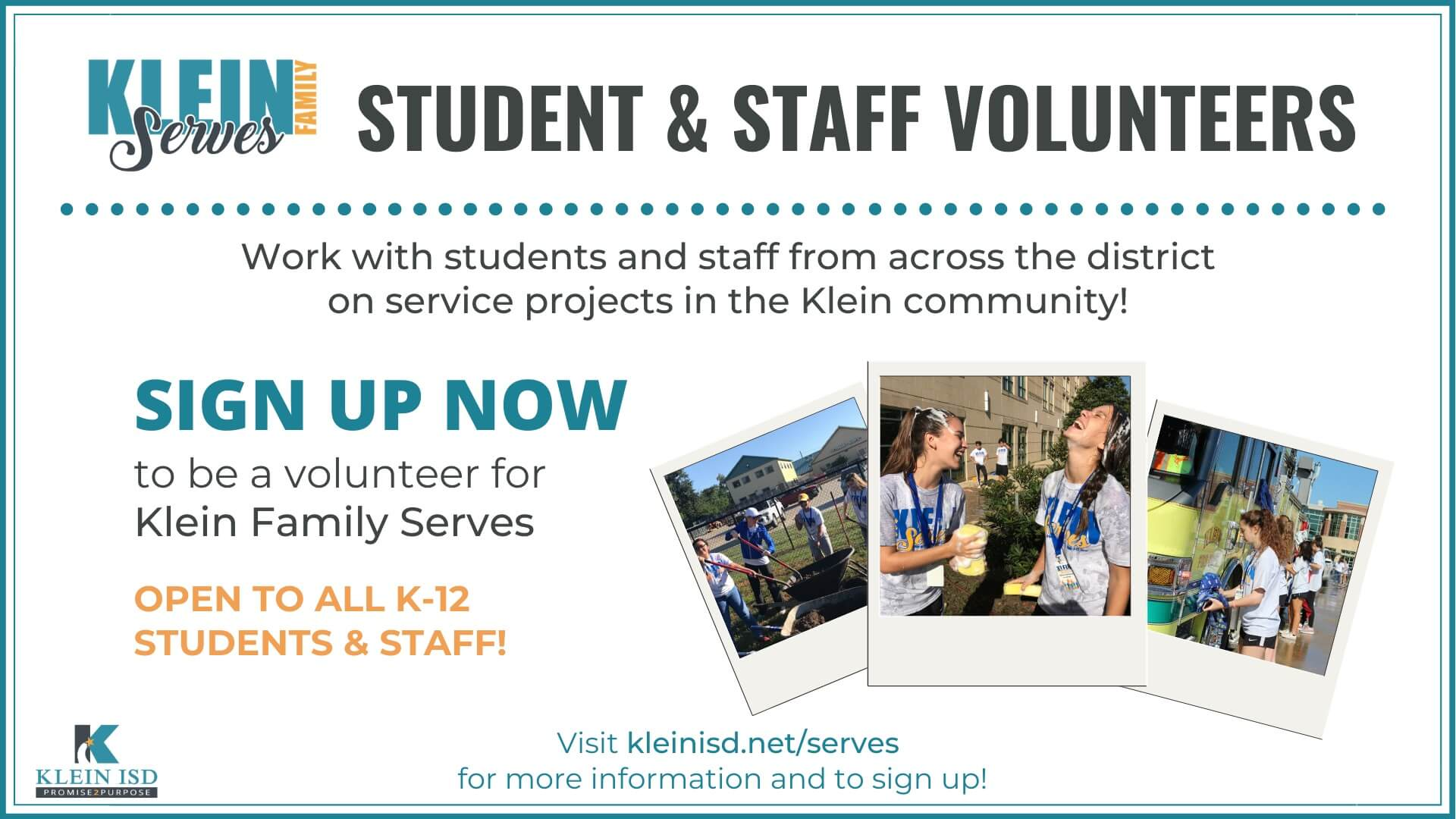 Klein Family Serves Needs Student and Staff Volunteers