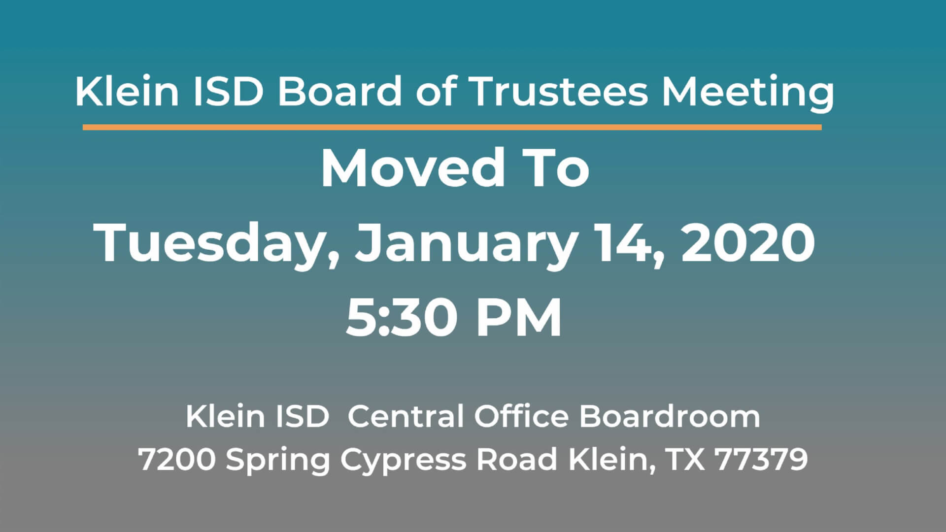 Klein ISD Board of Trustees Meeting Moved to January 14