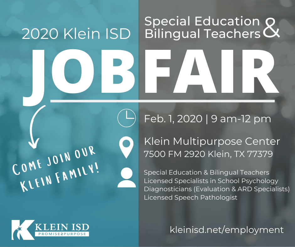 Klein ISD is hiring Special Education and Bilingual Teachers, Support Staff