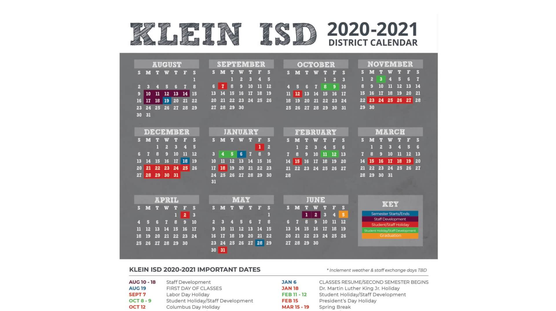 Ksd Calendar 2021-22 2020 2021 Klein ISD District Calendar Released   Klein ISD Newsroom