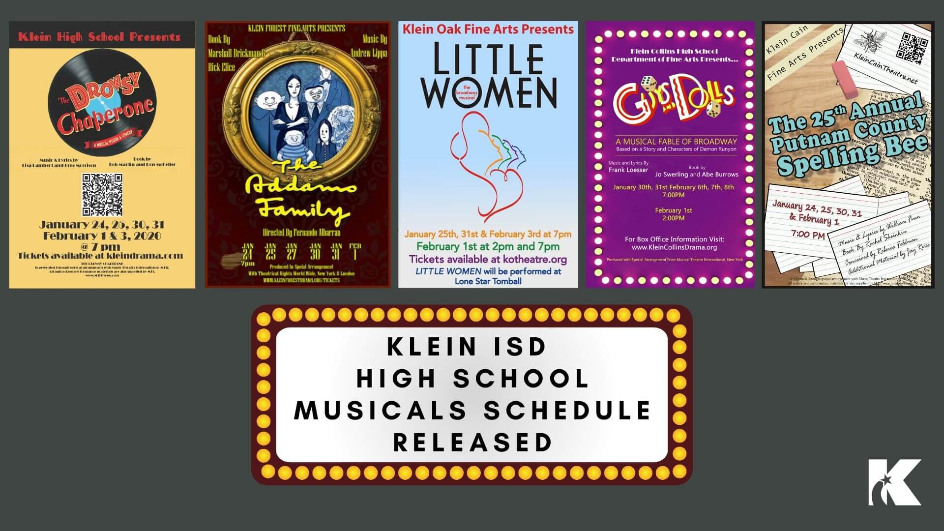Performance Dates Released for all 5 Klein ISD High School Musicals