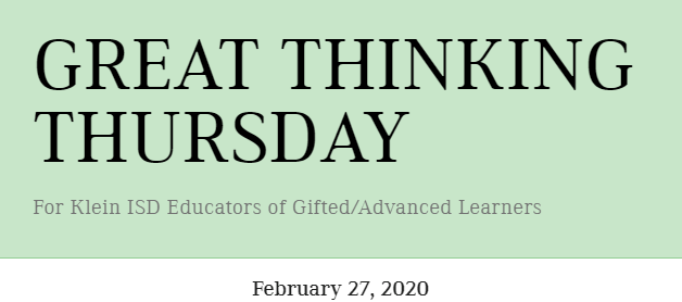 Great Thinking Thursday: February 27