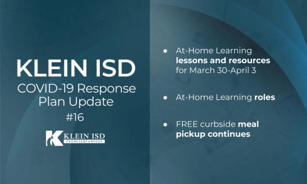 Update #16 – Klein ISD COVID-19