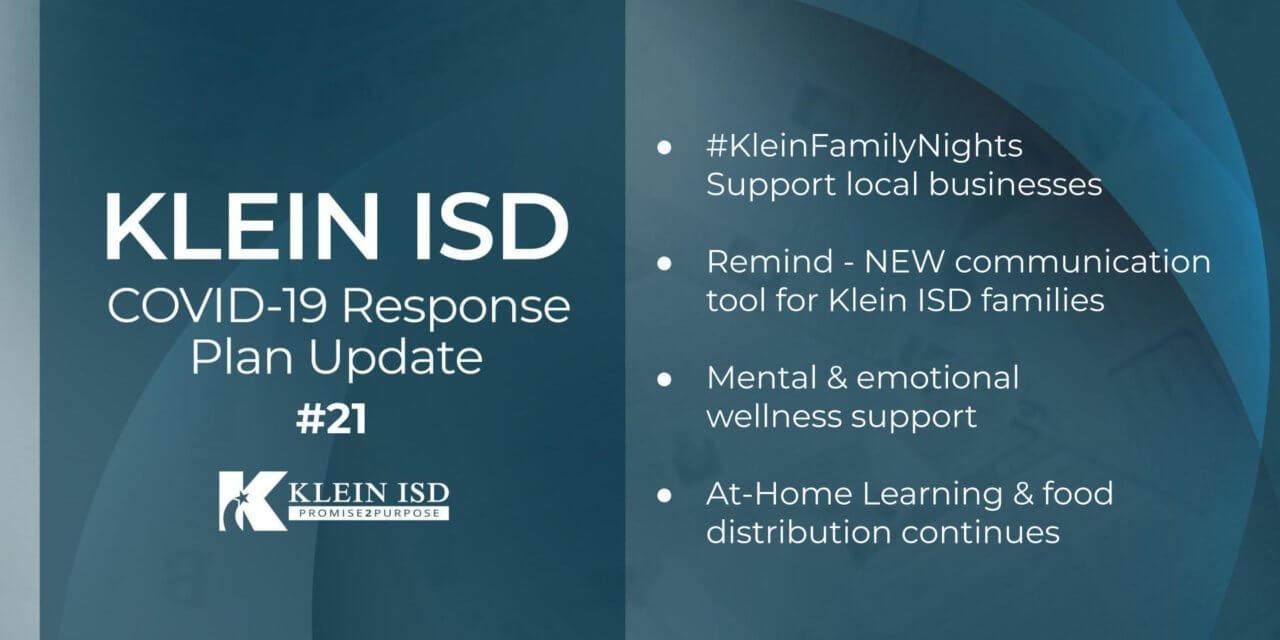 Update #21 – Klein ISD COVID-19