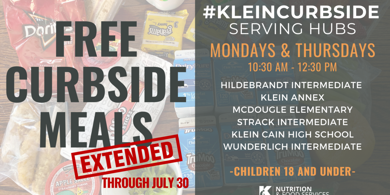 Klein ISD Curbside Meals Extended Through July 30