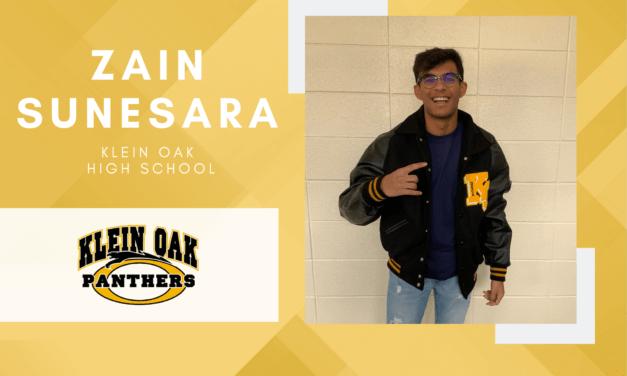 Klein Oak Senior Scholar Spotlight – Zain Sunesara