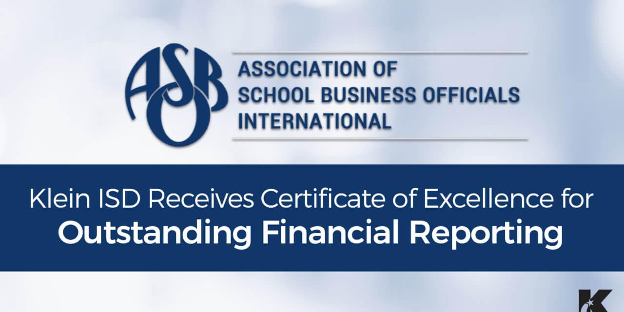 Klein ISD Receives Finance Award