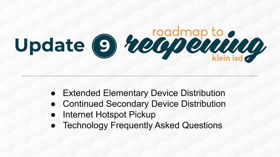 Update #9: Roadmap to Reopening Klein ISD