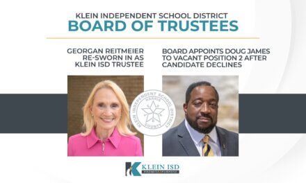 Georgan Reitmeier Re-sworn in as Klein ISD Trustee; Board Appoints Doug James to vacant Position 2 after candidate declines