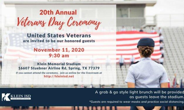 20th Annual Klein ISD Veterans Day Celebration