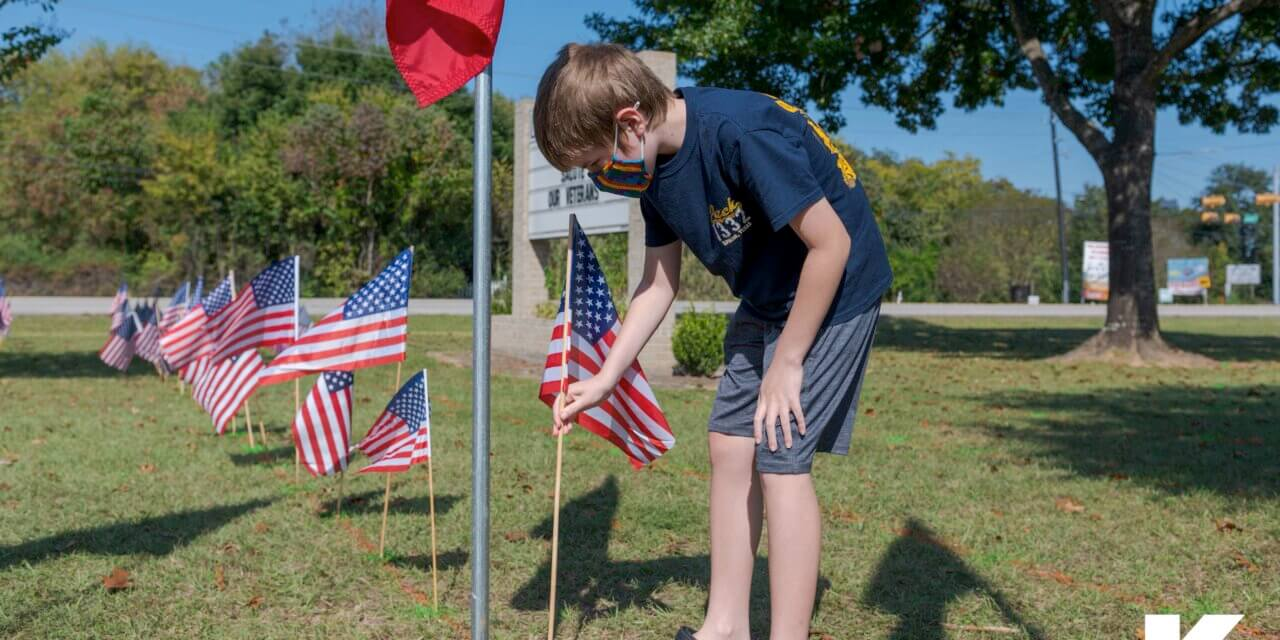 Haude Elementary Honors Veterans in Flag Planting Activity
