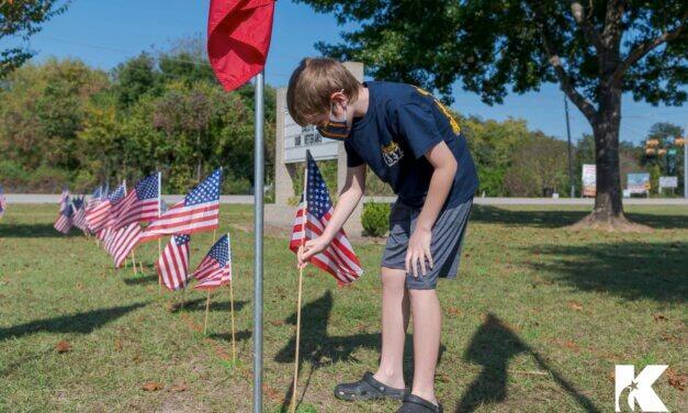 Haude Elementary Honors Veterans in Flag Planting Activity