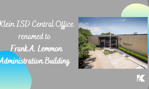 Klein ISD中央办公室以受尊敬的教育家Frank A. Lemmon的名字更名