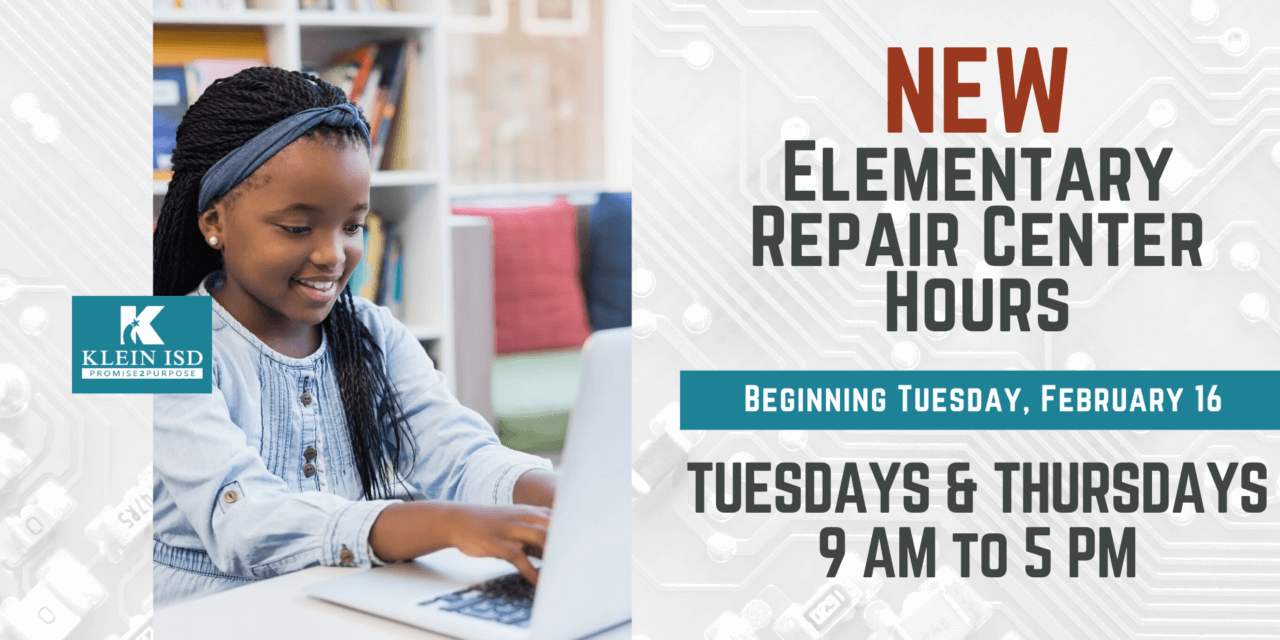 New hours for tech repair for Elementary Klein Online Students beginning February 16