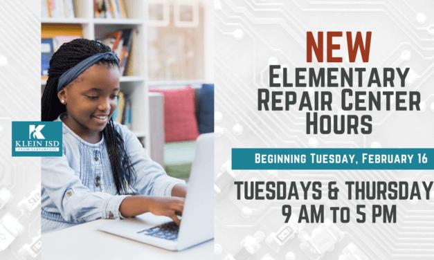 Nuevas horas de reparación de tecnología para estudiantes de Primaria Klein Online a partir del 16 de febrero