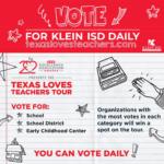 Nomine a Klein ISD y a sus campus favoritos para la gira de premios HEB por excelencia en educación de Texas