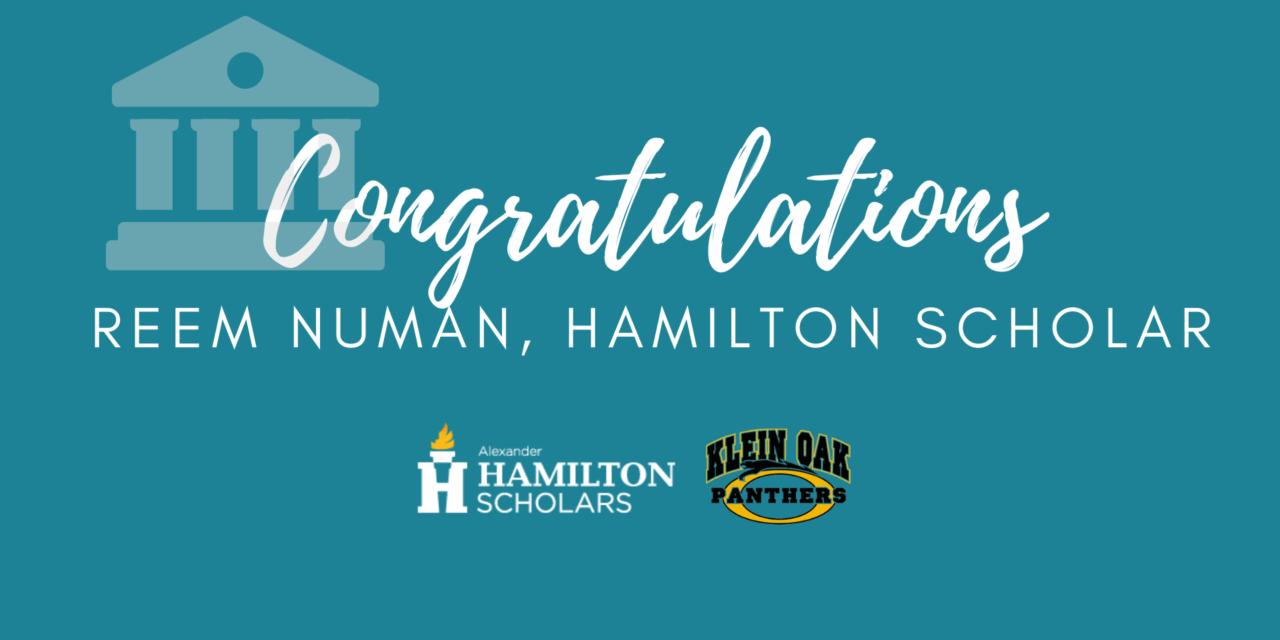 Klein Oak Junior Named National Hamilton Scholar