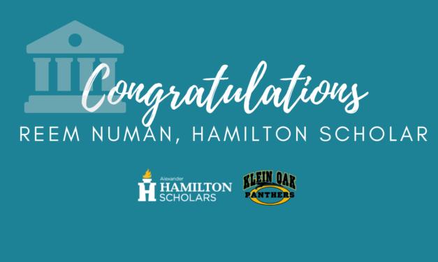 Klein Oak Junior nombrado académico nacional de Hamilton