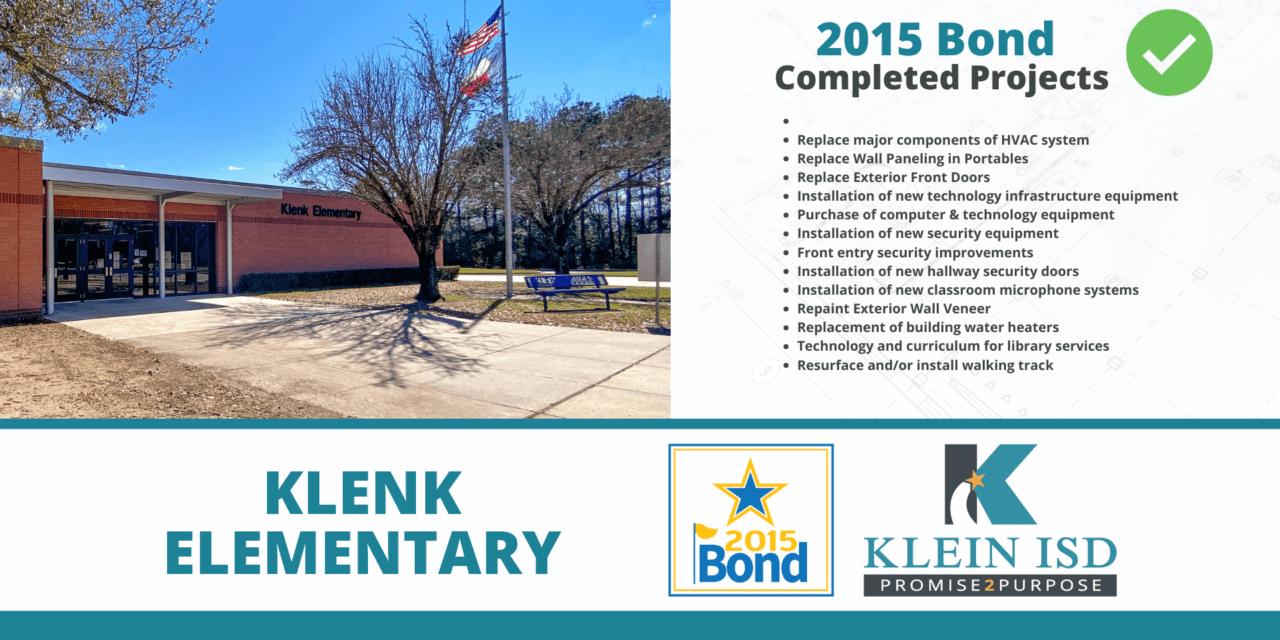 2015 Bond Completion Report – Klenk Elementary